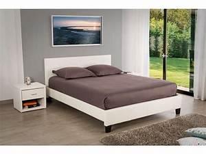 Lit Blanc Adulte : lit adulte 140x190 cm booba coloris blanc vente de lit adulte conforama ~ Teatrodelosmanantiales.com Idées de Décoration