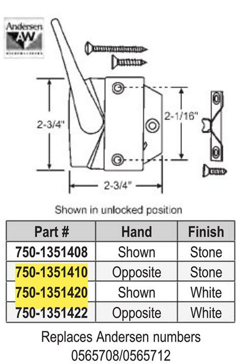 andersen casement locking handle  keeper white  stone