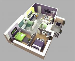 50 3d floor plans lay out designs for 2 bedroom house or With 3d home plans imposing design