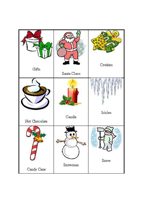 Christmas Pictionary 27 Christmaswinter Word Cards