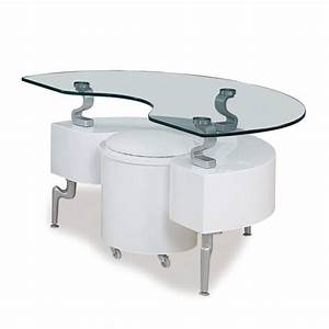 global t288 2 piece coffee table set in white w white With white coffee table with stools