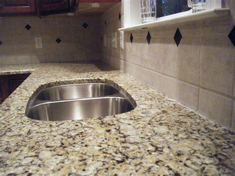 Granite Slab Backsplash : Granite Installation, Santa Cecilia Countertop, And Tile B