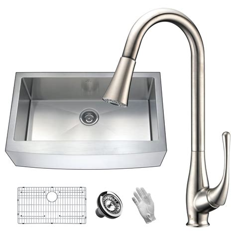 brushed stainless steel sinks kitchen anzzi elysian farmhouse stainless steel 36 in single bowl 7975