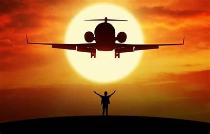 Airplane Plane Background Flight Sun Aviation Siluet