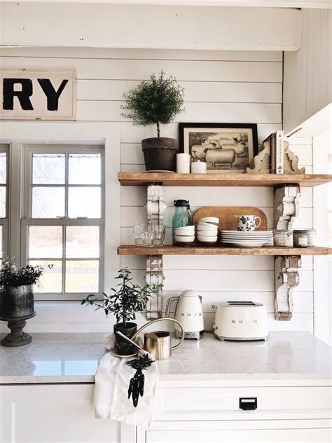 cottage style kitchen shelves  paint  stain liz