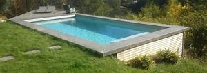 Piscine Sans Margelle : piscine bois 8x3 5 avec margelle b ton ozeobois ozeobois ~ Premium-room.com Idées de Décoration