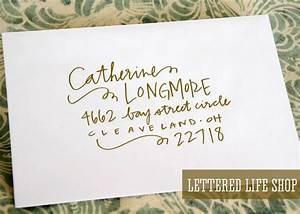 wedding calligraphy envelope addressing gold modern With wedding invitation address website