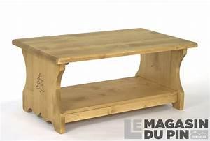Table Basse Pin Massif : table basse 100 cm en pin massif chamonix 2 plateaux 2 ~ Teatrodelosmanantiales.com Idées de Décoration