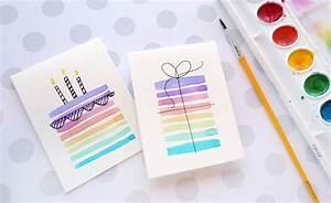 Geburtstagskarte Basteln Einfach : geburtstagskarten mit wasserfarben malen basteln zum geburtstag oder einfach nur so cards ~ Orissabook.com Haus und Dekorationen