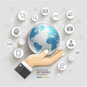 Business Computer Network  Business Hand With Global Template  Stock Vector