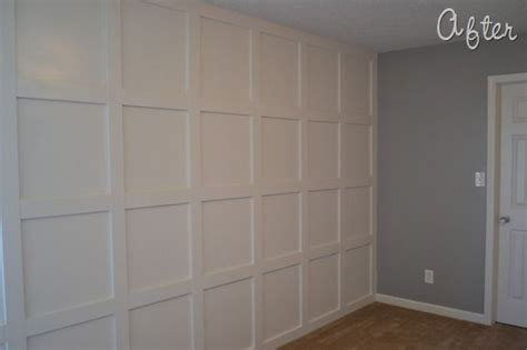 Wainscoting Square Panels by Molding Wall Tutorial For The Home Wall Molding