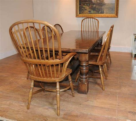 windsor table and chairs oak refectory table windsor chair set farmhouse kitchen