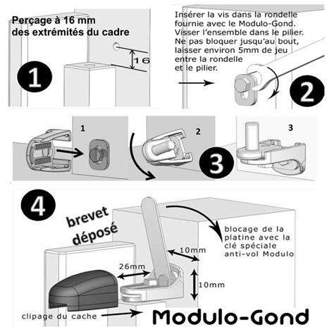 gond regulateur de pente gond modulo fixation rapide 1 point modulo gond sans cache
