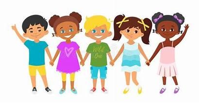 Cartoon Hands Multicultural Standing Holding Row Each