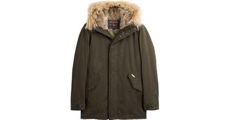 lyst woolrich winter cotton eskimo coat  green  men