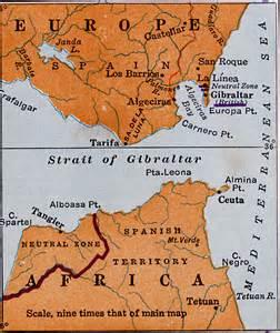 Strait of Gibraltar and Bordering Land Masses, 1920 Gibraltar