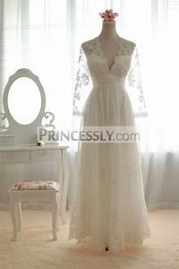 a line scalloped v neck sheer long sleeves empire waist With long sleeve empire waist wedding dress