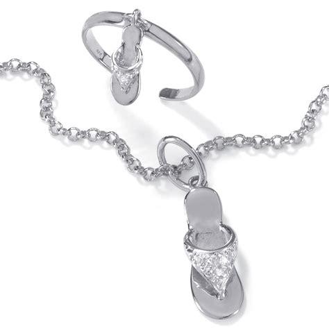 diamond accent platinum  silver  flip flop ankle