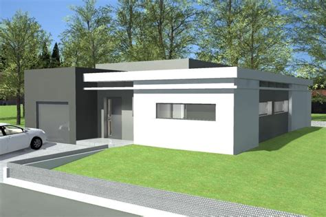 plan maison plain pied moderne toit plat