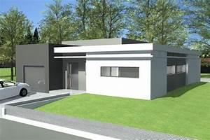 plan maison plain pied moderne toit plat With photo maison contemporaine plain pied
