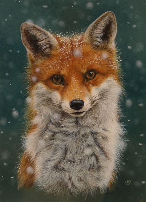 winter fox    wooden sign   painted