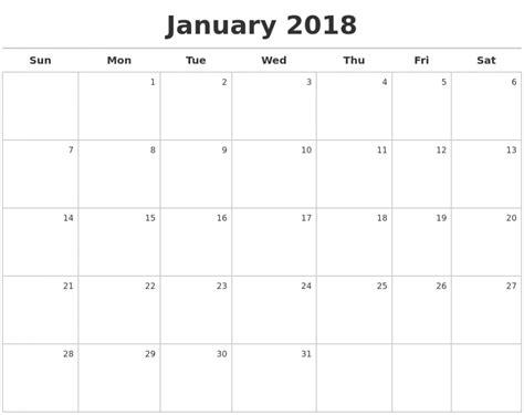 2018 calendar template printable printable january 2018 calendar template