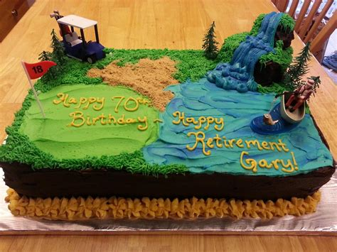 birthdayretirement cake golfing  fishing fishing