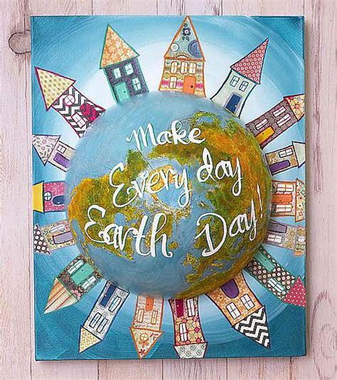 earth day mixed media globe canvas project  decoart