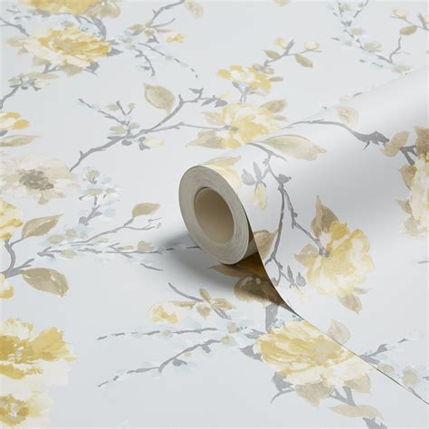 K2 Lucy Duck egg & yellow Floral Wallpaper   Departments