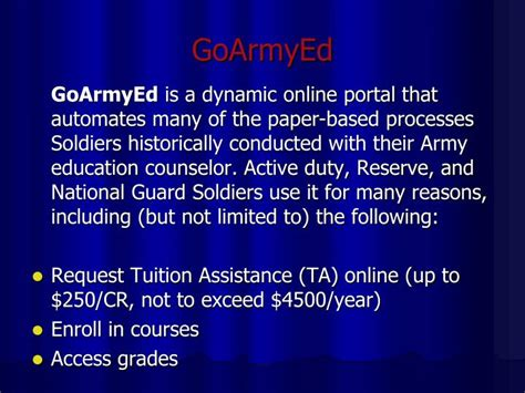 goarmyed help desk number ppt education benefits powerpoint presentation