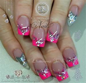 Hot Pink & Silver Nails with Clear Pointy Pinkies...