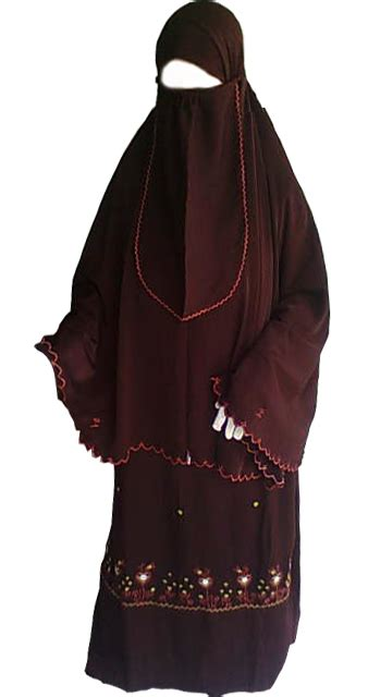 Krudung Merah stelan jubah bordir merah maroon lisaba collection