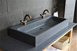 Vasque En Pierre Pas Cher : looan grande double vasque en granit v ritable taill e ~ Edinachiropracticcenter.com Idées de Décoration