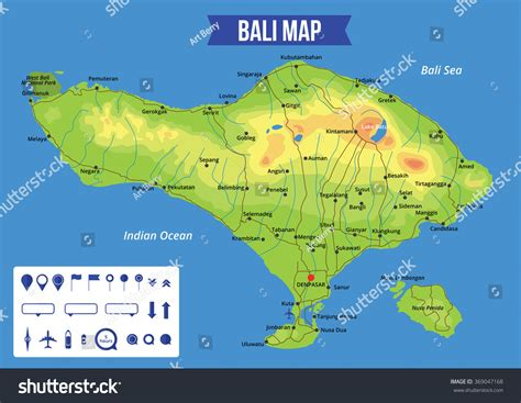 vector color map  bali  capital denpasar important