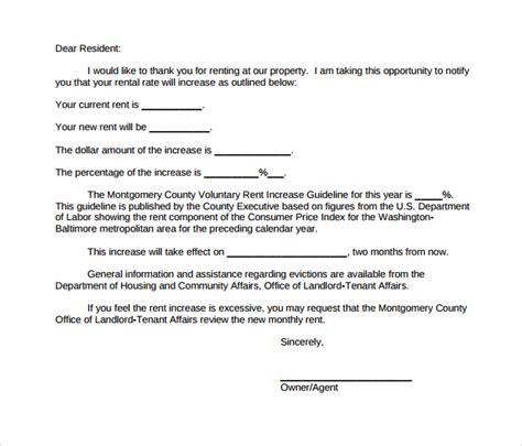 rent increase letter 9 sle rent increase letter templates pdf word 20625