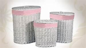 Panier À Linge En Osier : trois grands paniers linge en osier blanc et rubans roses ~ Melissatoandfro.com Idées de Décoration