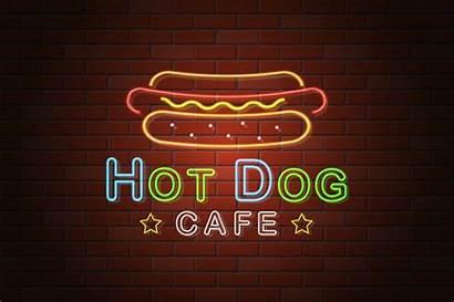 Neon Hotdog Sign Vector Cafe Signboard Illustration