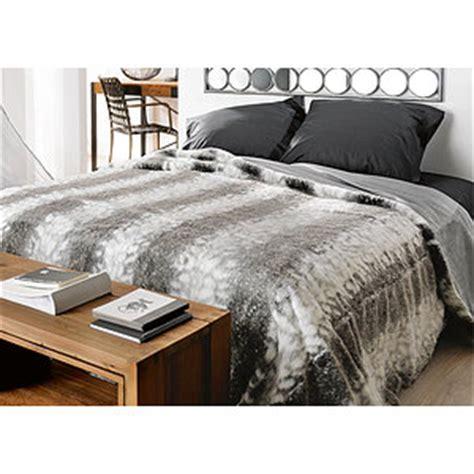 jete de lit couvre lit fausse fourrure loup grand plaid