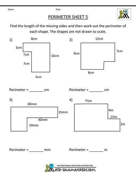 perimeter worksheet perimeter 5 house
