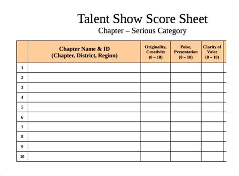 sample talent show score sheet  documents