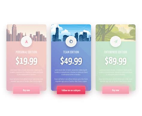 css price table cards coding fribly