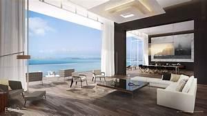 Blue Living Room Interior Design Wallpaper For Beautiful