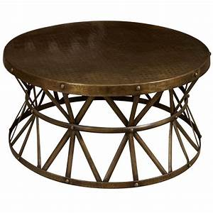 Coffee tables design best round metal coffee table base for Bronze metal coffee table