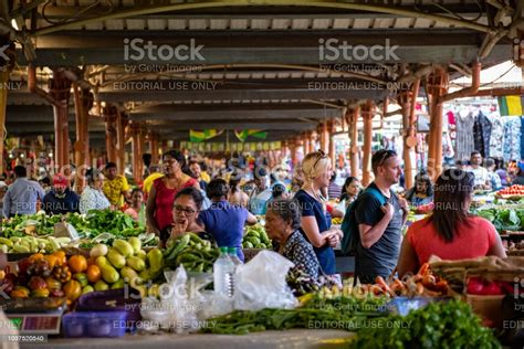 Busy Covered Market Place At Centre De Flacq In Mauritius ...