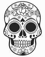 Coloring Skull Sugar Halloween Popular sketch template