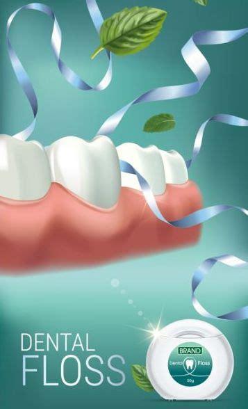 creative dental floss advertising template vector