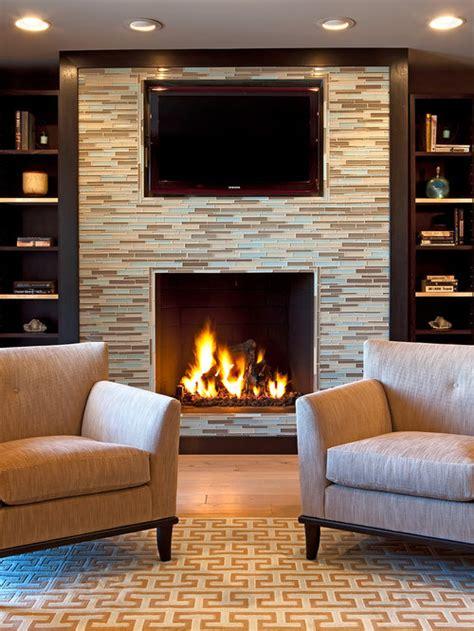 glass tile fireplace houzz