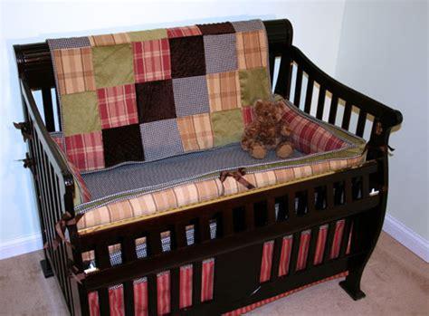 Northwoods Crib Bedding by Northwoods Antique Black Check Four Crib Set