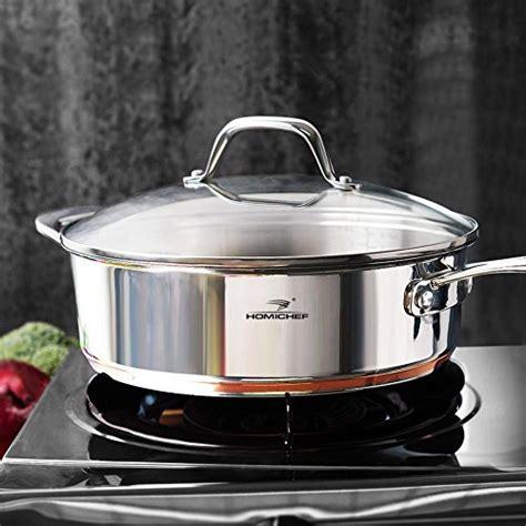 cookware set homi chef mirror polished copper band nickel  stainless steel  quart stock