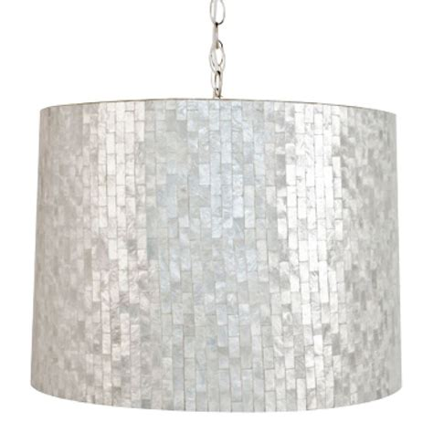 Capiz Drum Chandelier by Worlds Away Brick Capiz Shell Drum Pendant Lighting